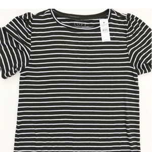 LOFT Striped Shirt with Ruched Sleeves Small
